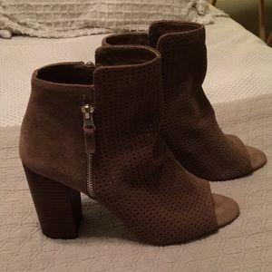 Jessica Simpson perforated suede peep toe booties